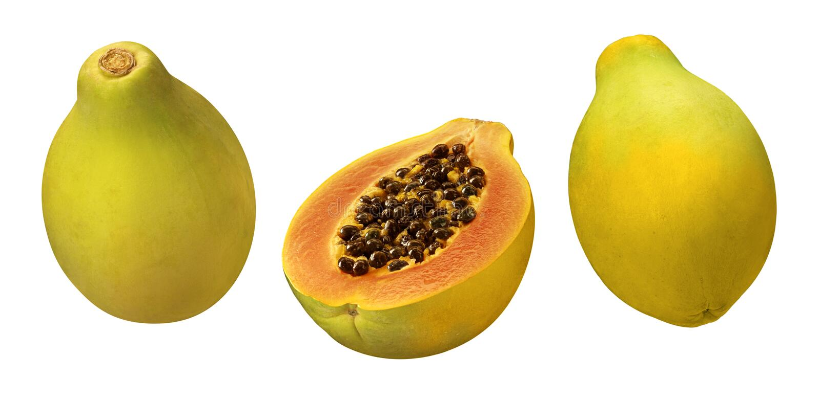 Papayas. Isolated on a white background. Isolation is on a transparent layer in the PNG format stock images