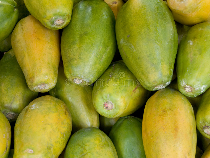 Papayas. View of some papayas for sale in a market royalty free stock photography