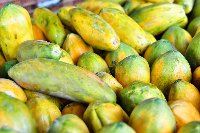 Papayas for sale in Costa Rica royalty free stock image