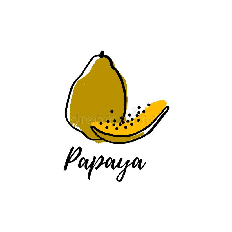 Papaye d'abrégé sur logo illustration stock