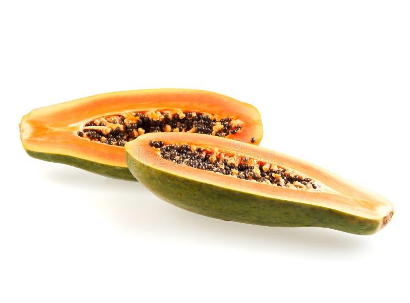 Papaye divisée en deux image stock