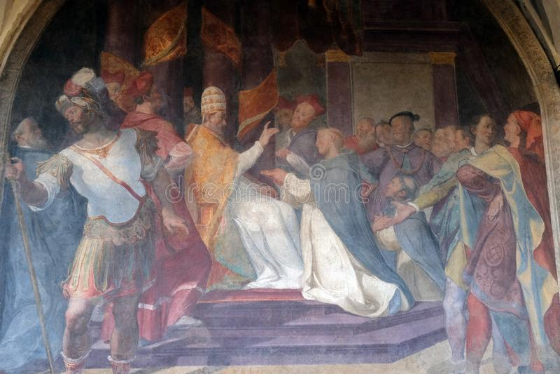 Pape Honorius III confirme la règle dominicaine, église de Santa Maria Novella à Florence images libres de droits