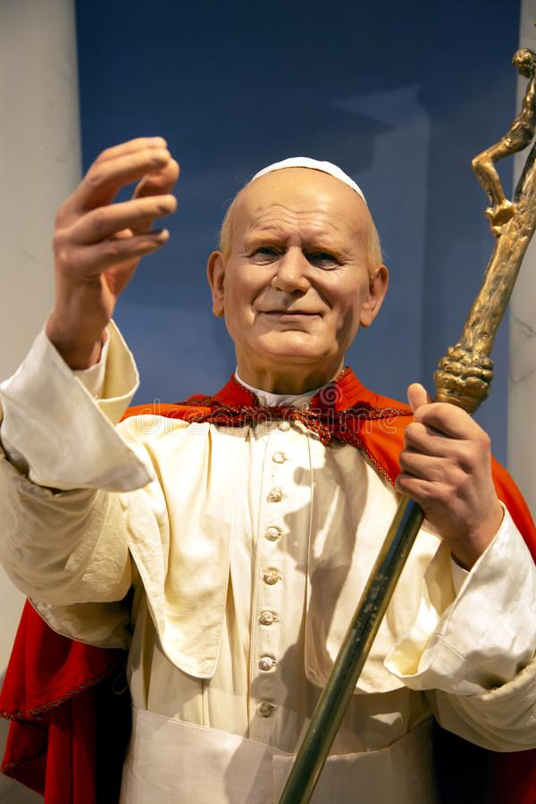 Pape Jean Paul II dans Madame Tussauds de New York image libre de droits