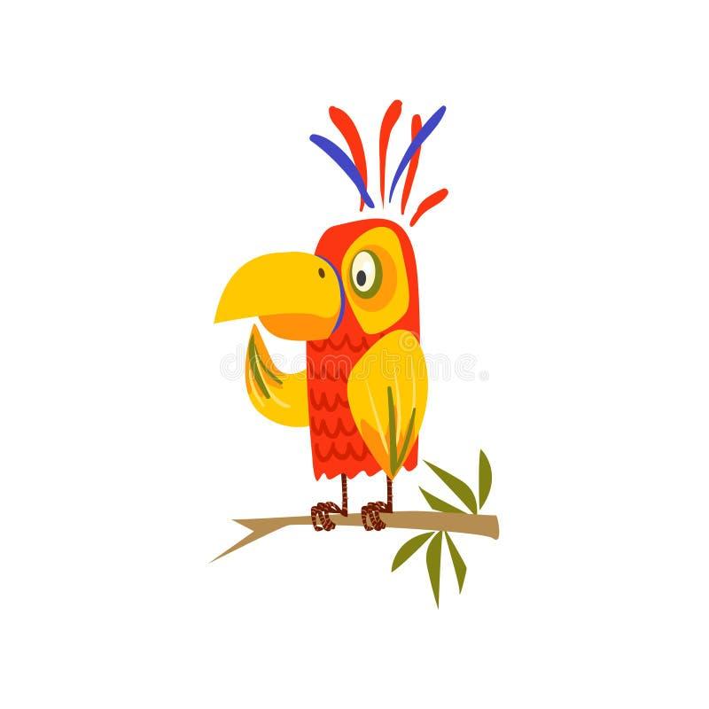 Papegaai die op Tak zich vlak bevinden stock illustratie