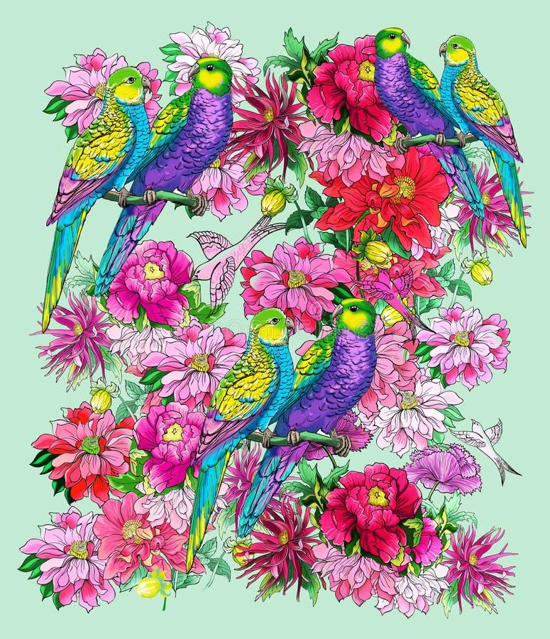 Papegaai en mooie bloemen royalty-vrije illustratie