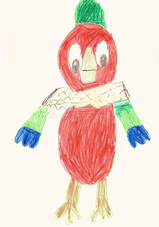Papegaai kesha-Kinderen tekening royalty-vrije illustratie