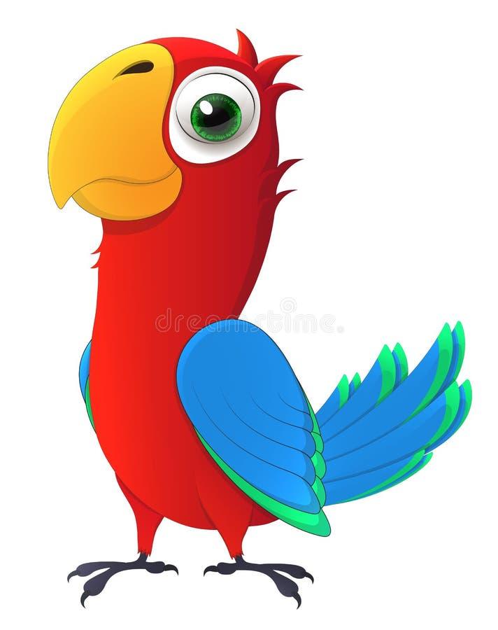 Papegaai Leuk kuiken met grote en vriendelijke ogen Het karakter van het beeldverhaal vector illustratie