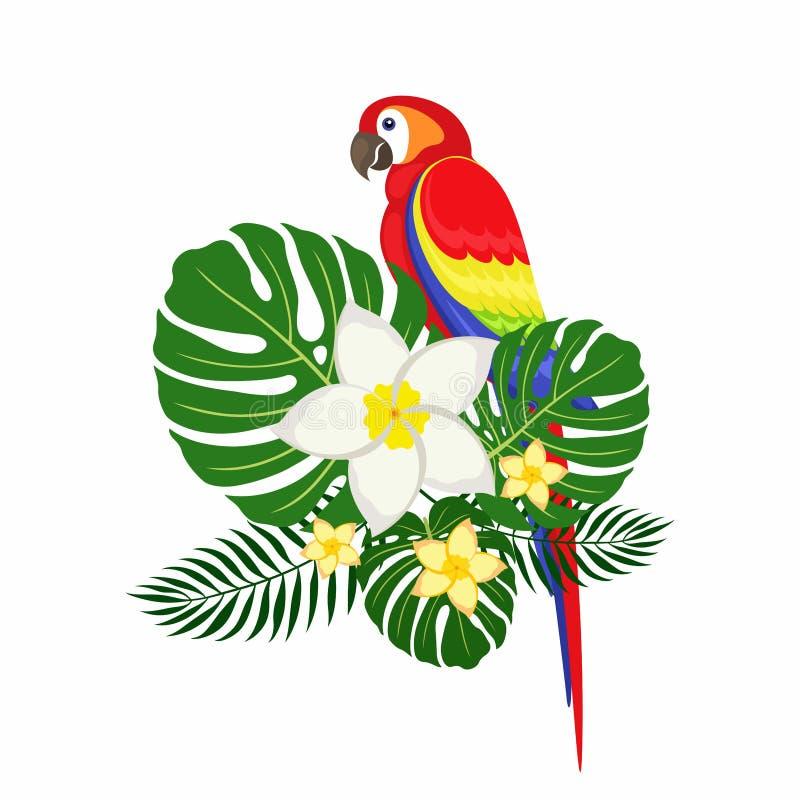 Papegaai met palmbladen en plumeriabloemen stock afbeeldingen