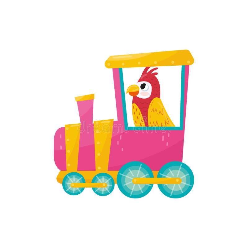 Papegaai met roze wangen en gele vleugels die op trein berijden Grappige tropische vogel Beeldverhaal Dierlijk Karakter Vlakke ve vector illustratie