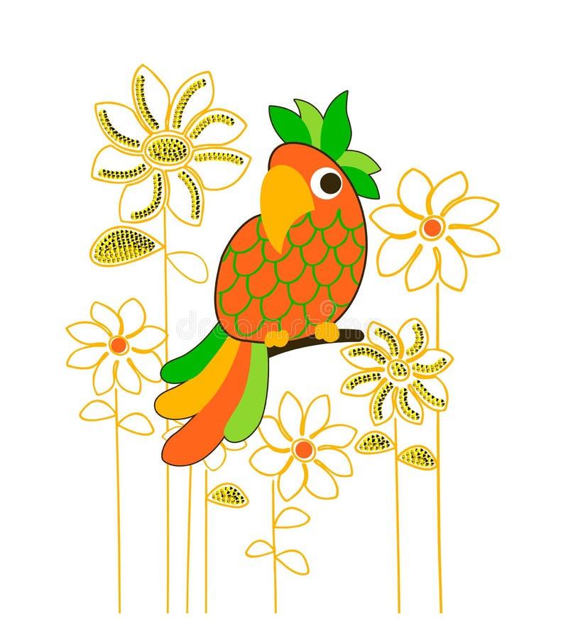 Papegoja- och blommamodell, utslagsplatsskjortatryck vektor illustrationer