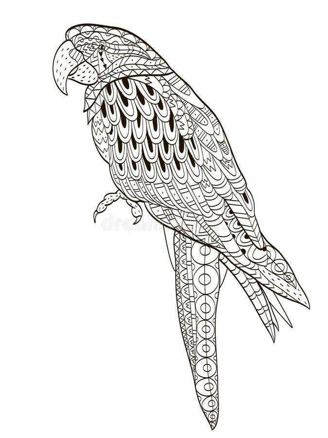 papegoja Tropisk fågel också vektor för coreldrawillustration Färgläggningbok för vuxna och äldre barn Färga sidan Översiktsteckn stock illustrationer