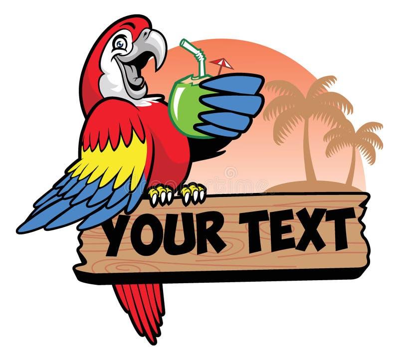 Papegojadrink ett kokosnötvatten royaltyfri illustrationer