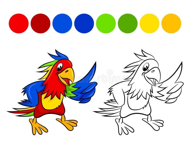 Papegojafärgläggningbok stock illustrationer