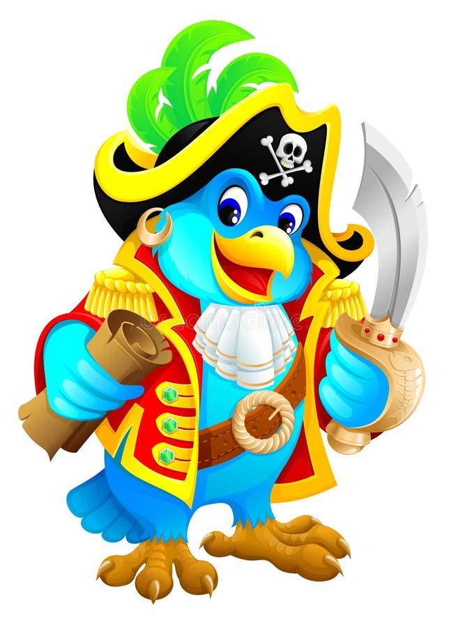 papegojan piratkopierar vektor illustrationer