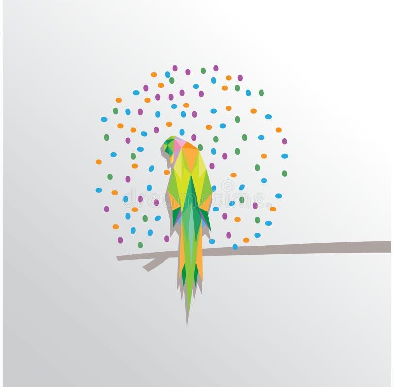 Papegojatriangelillustration med färgrika prickar royaltyfri illustrationer