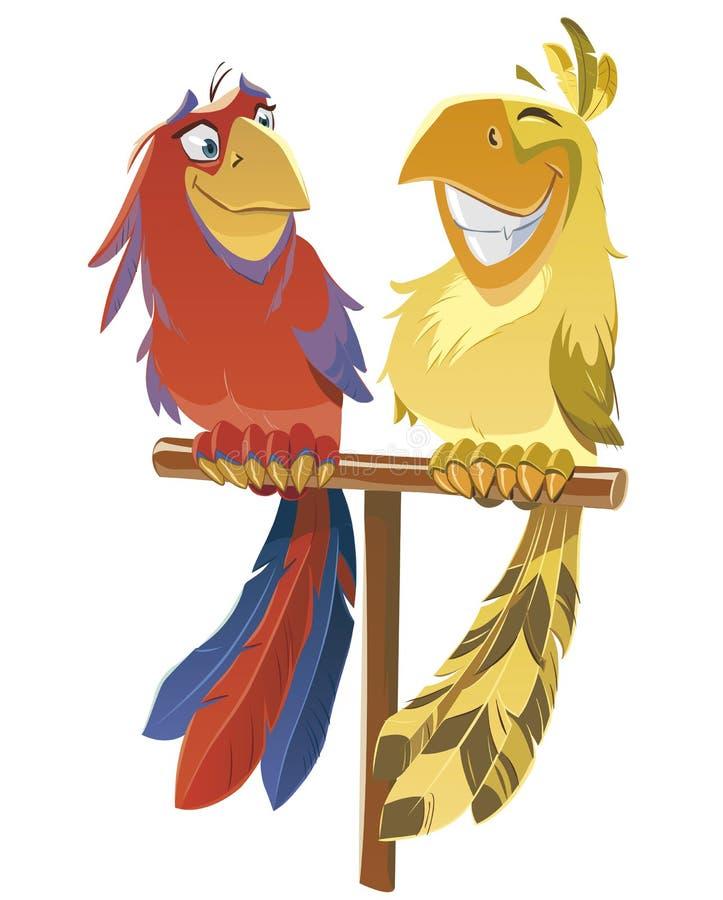 Papegojor vektor illustrationer