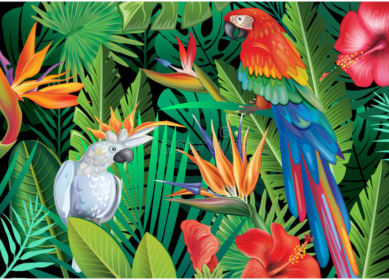 Papegojor med tropiska växter stock illustrationer