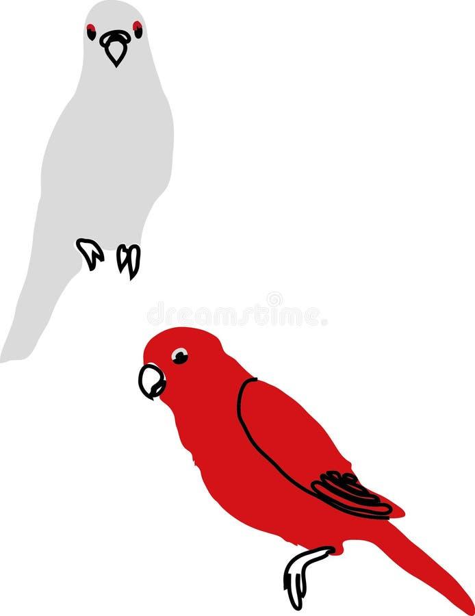Papegojor som in dras arkivfoton