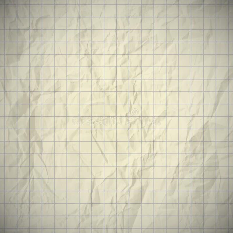 Papel abollado viejo del cuaderno stock de ilustración