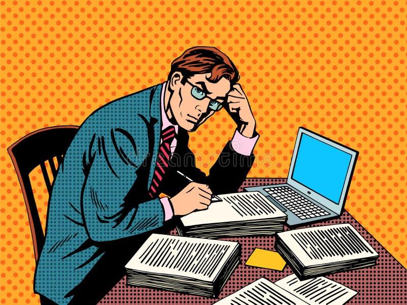 Papel acadêmico da tese do journalista do editor do escritor ilustração stock
