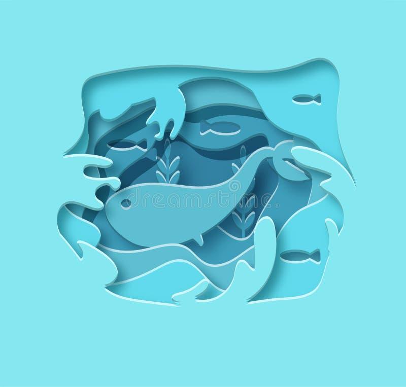 Papel acodado Ballena azul cortada de papel de la historieta en el agua en estilo de moda poligonal del arte Tarjeta de felicitac stock de ilustración