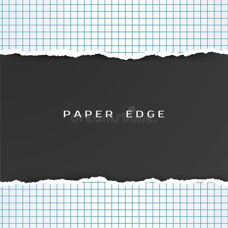 Papel ajustado con el borde rasgado Modelo a cuadros del papel de la geometría Ilustración del vector ilustración del vector
