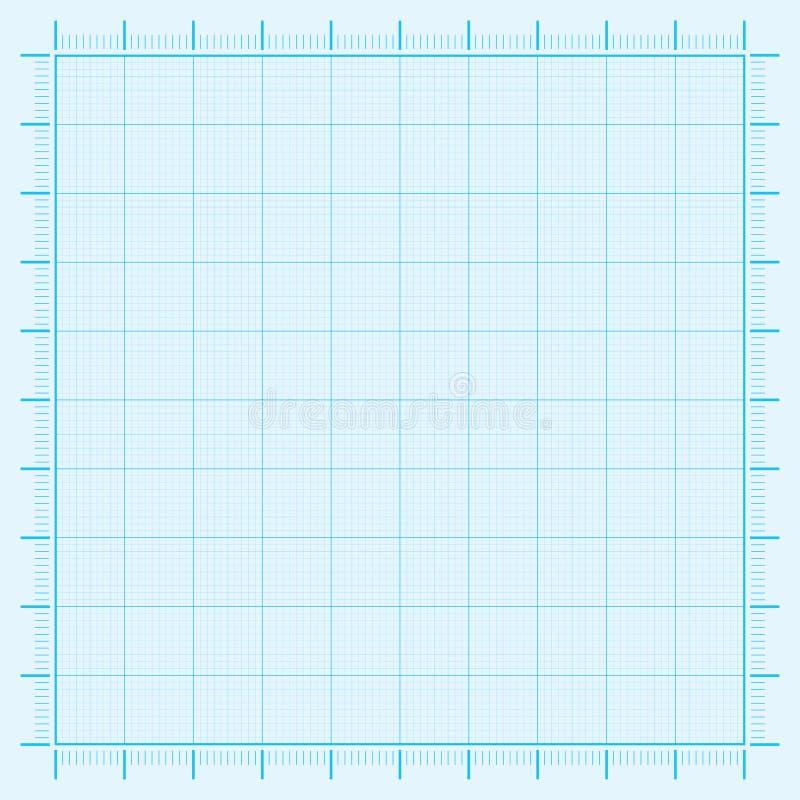 Papel ajustado del papel de la rejilla del papel del coordenada del papel cuadriculado azul stock de ilustración