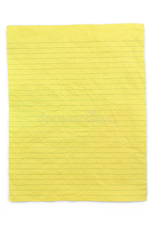 Papel alineado amarillo arrugado imágenes de archivo libres de regalías