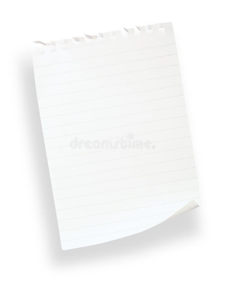 Papel alineado blanco (con el camino de recortes) imágenes de archivo libres de regalías