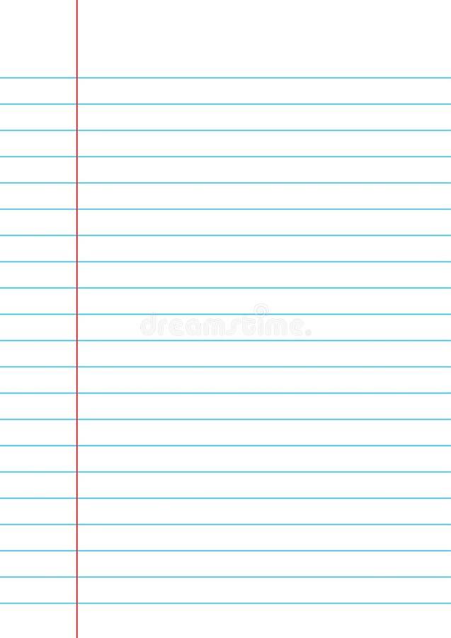 Papel alineado de un cuaderno en el fondo blanco ilustración del vector