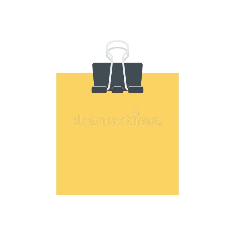 Papel amarelo vazio guardado pelo grampo ilustração royalty free