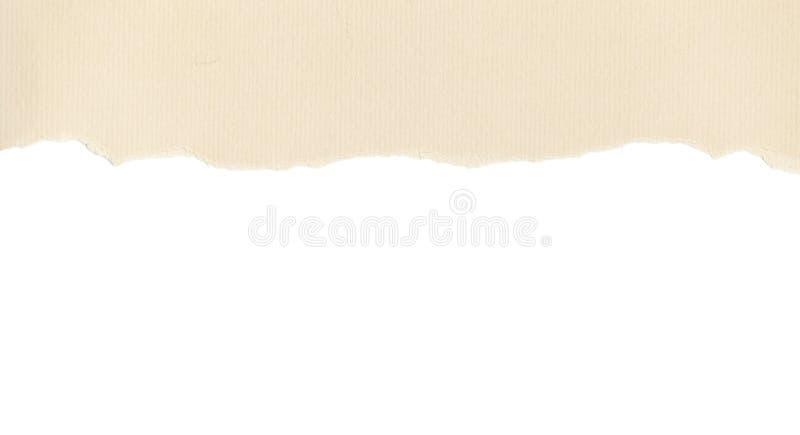 Papel amarillento con el borde rasgado en blanco imágenes de archivo libres de regalías