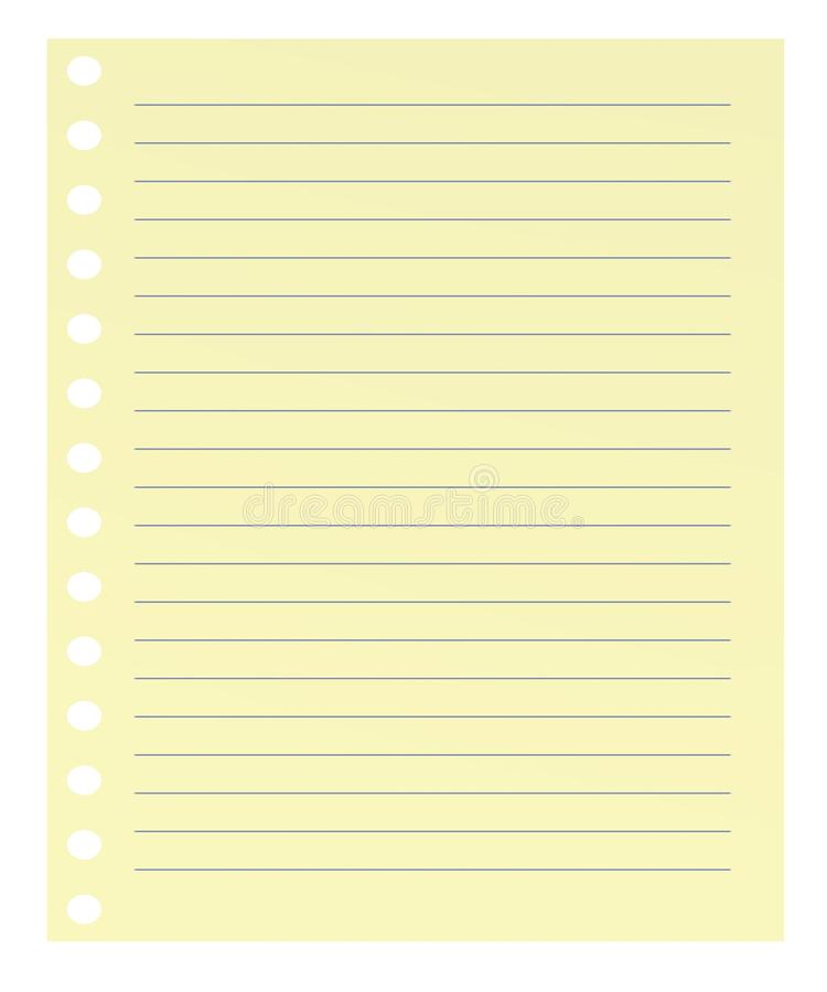Papel amarillo con las líneas azules stock de ilustración