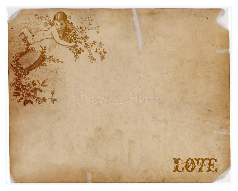 Papel antigo com texto do anjo e do amor imagem de stock