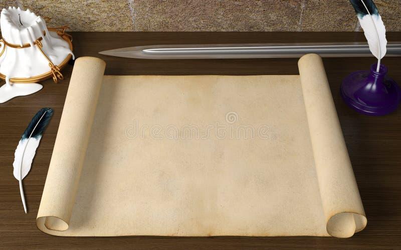 Papel antigo vazio velho do rolo na tabela com pena, vela e espada no tema medieval fotografia de stock