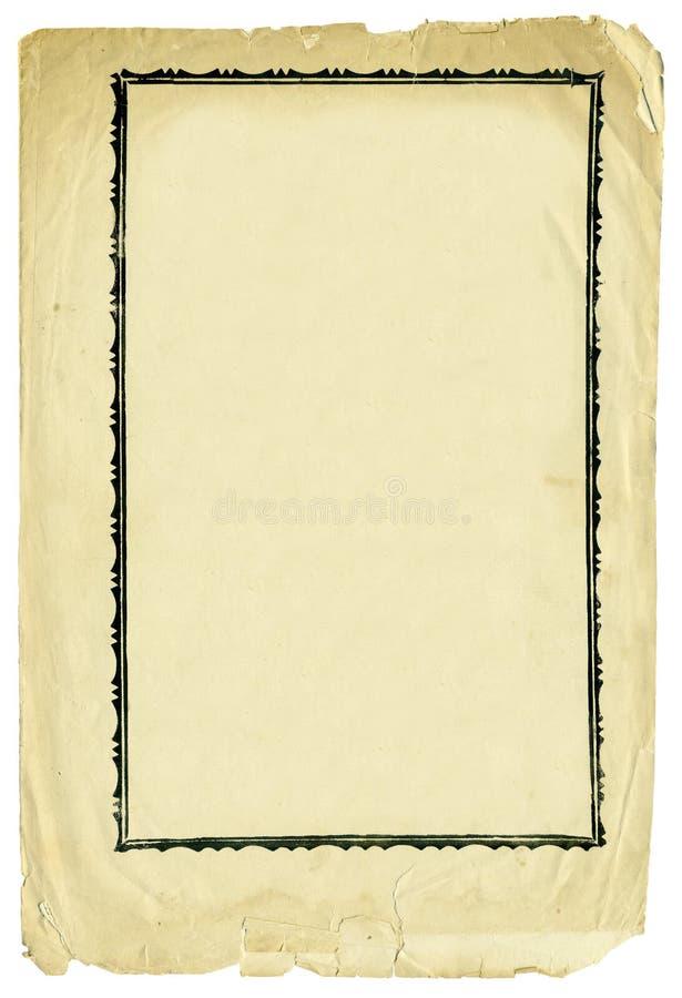 Papel antiguo con el marco decorativo y los bordes rasgados foto de archivo