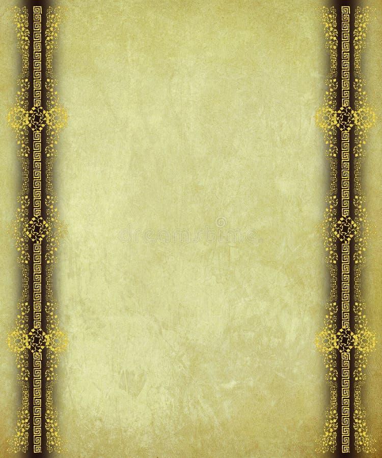 Papel antiguo con las fronteras de Scrollwork del oro foto de archivo libre de regalías