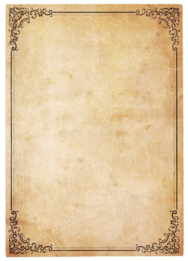 Papel antiguo en blanco con la frontera de la vendimia imagen de archivo libre de regalías