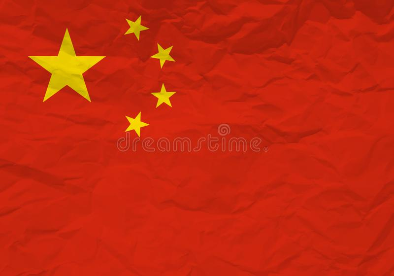 Papel arrugado bandera de China stock de ilustración