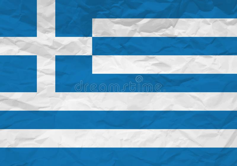 Papel arrugado bandera de Grecia stock de ilustración