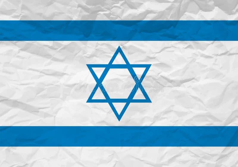 Papel arrugado bandera de Israel ilustración del vector