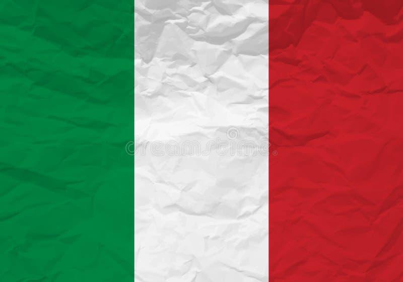 Papel arrugado bandera de Italia stock de ilustración