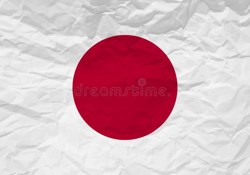 Papel arrugado bandera de Japón ilustración del vector