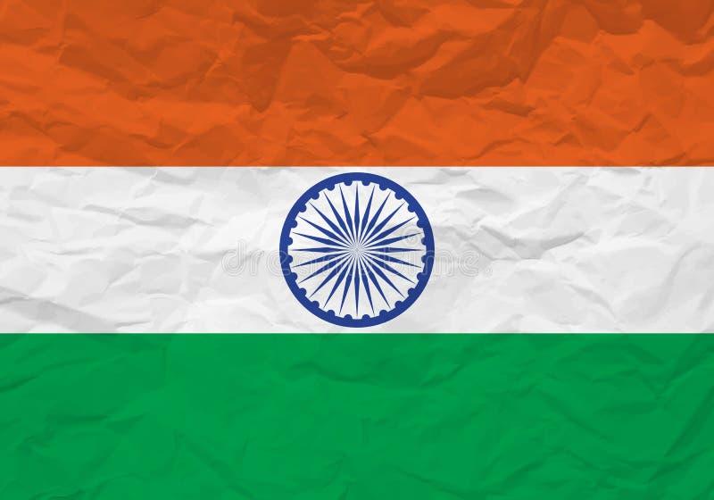 Papel arrugado bandera de la India stock de ilustración