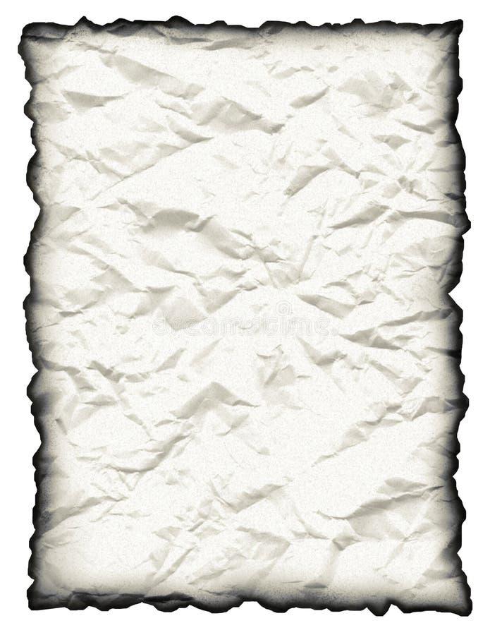 Papel arrugado, manchado con el borde quemado ilustración del vector