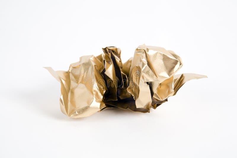 Papel arrugado oro foto de archivo libre de regalías