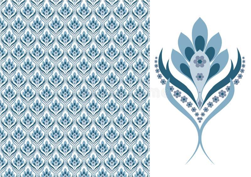 Papel-azul inconsútil floral stock de ilustración