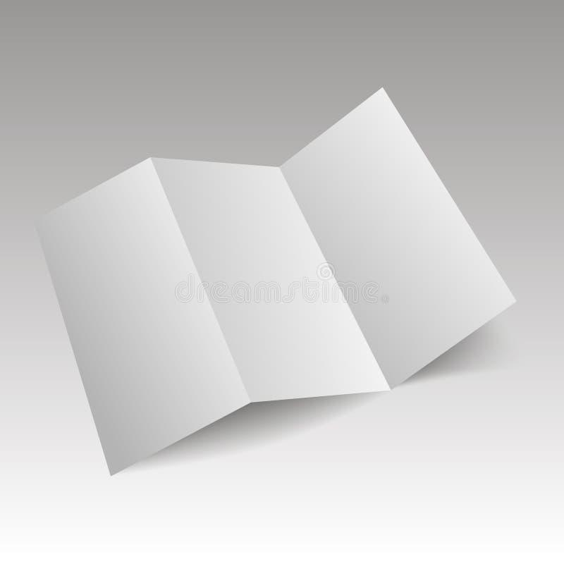 Papel blanco triple en blanco de la plantilla con las sombras suaves Vector ilustración del vector
