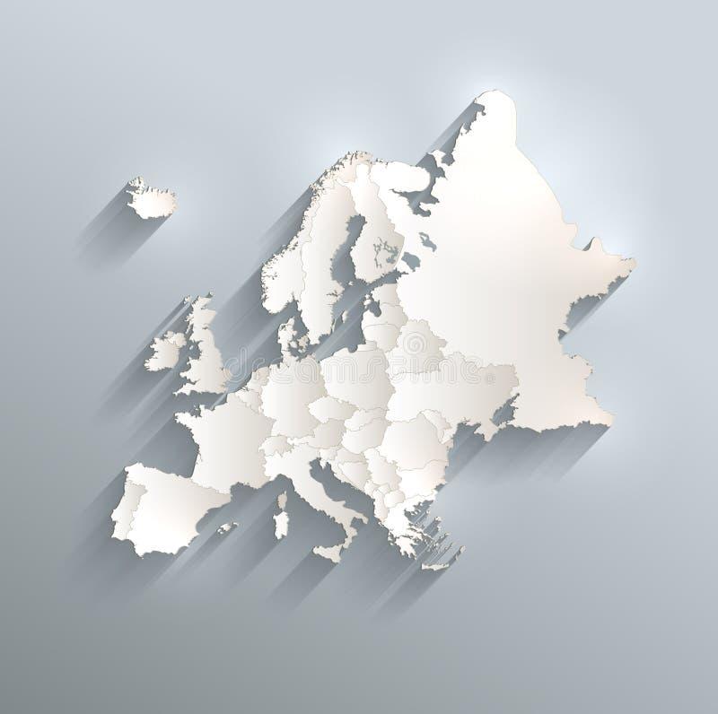 Papel branco azul 3D do cartão do mapa político de Europa ilustração do vetor