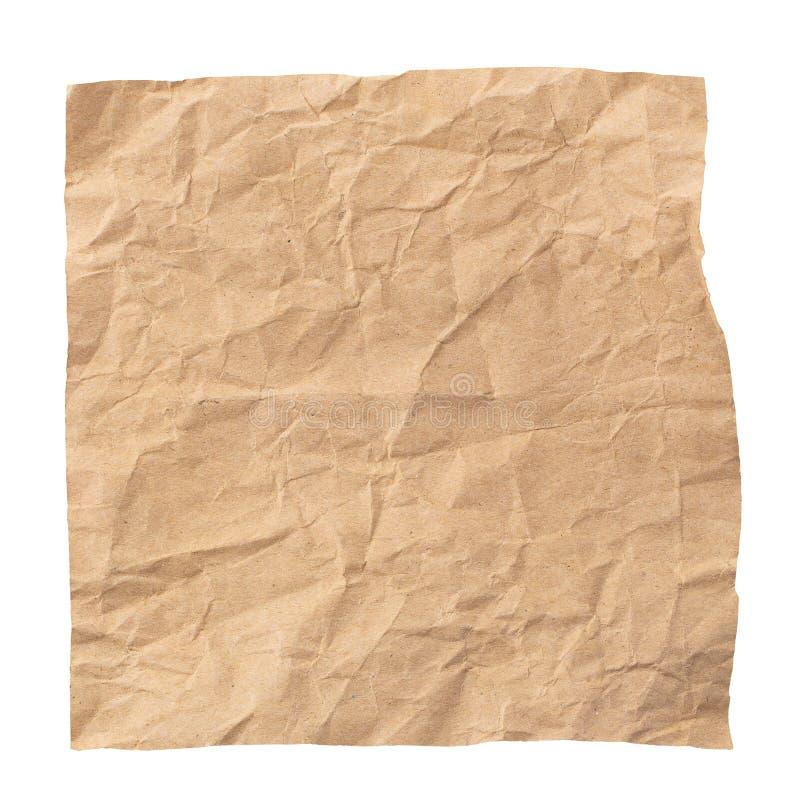 Papel castanho usado, isolado sobre fundo branco fotografia de stock royalty free